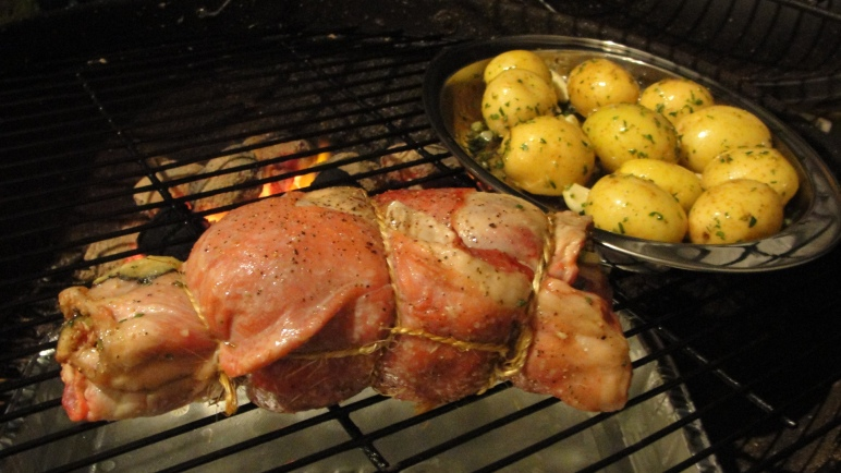 Lamb roll on the BBQ with the potatoes