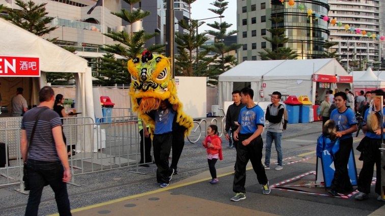 Dragon dance display at the Chinese New Year markets